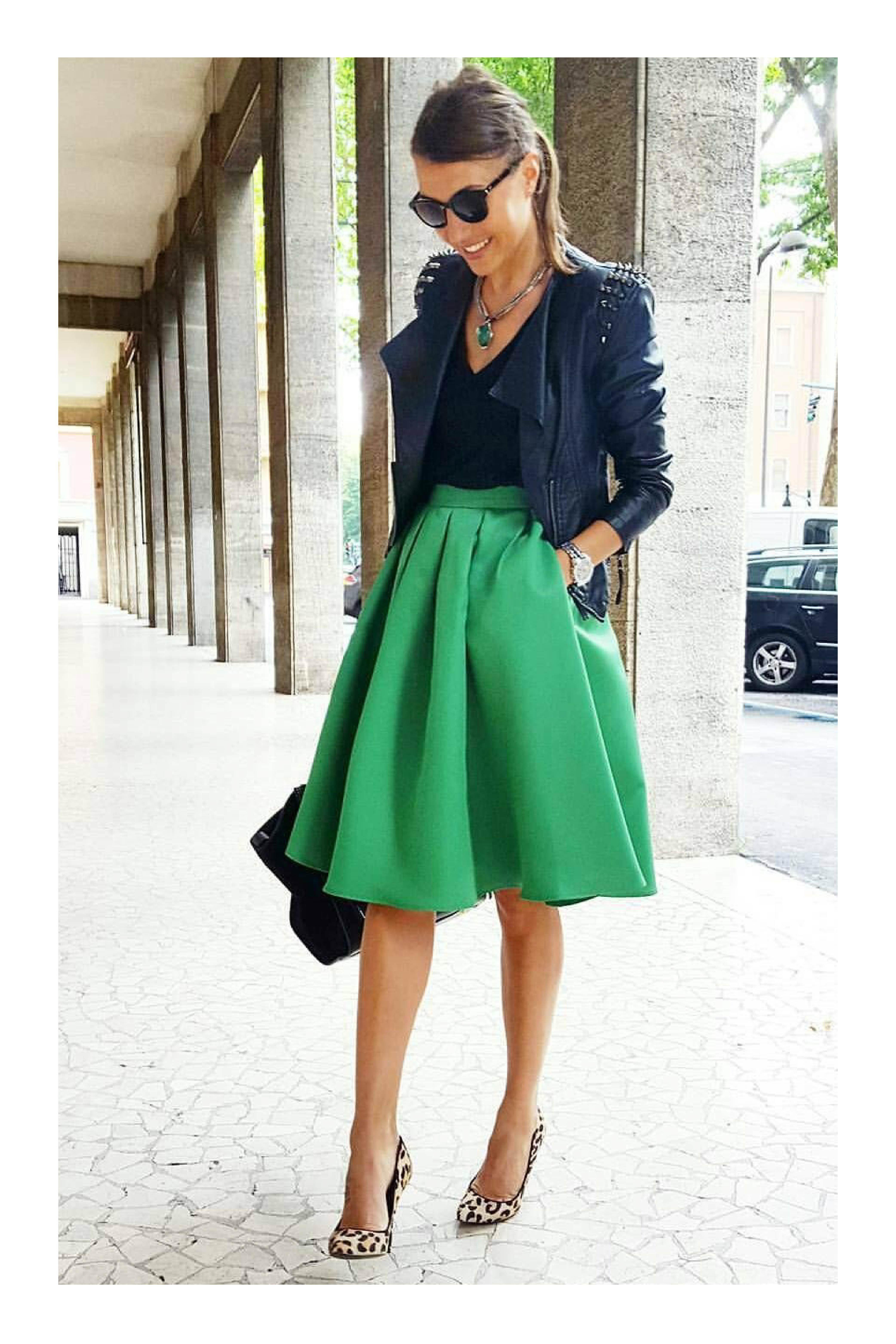 cheap for discount 177c7 56501 Outfits sofisticados para eventos de día  TiZKKAmoda  blusa  negro  falda   verde  stilettos  animalprint  chamarra  piel  lentes  formal