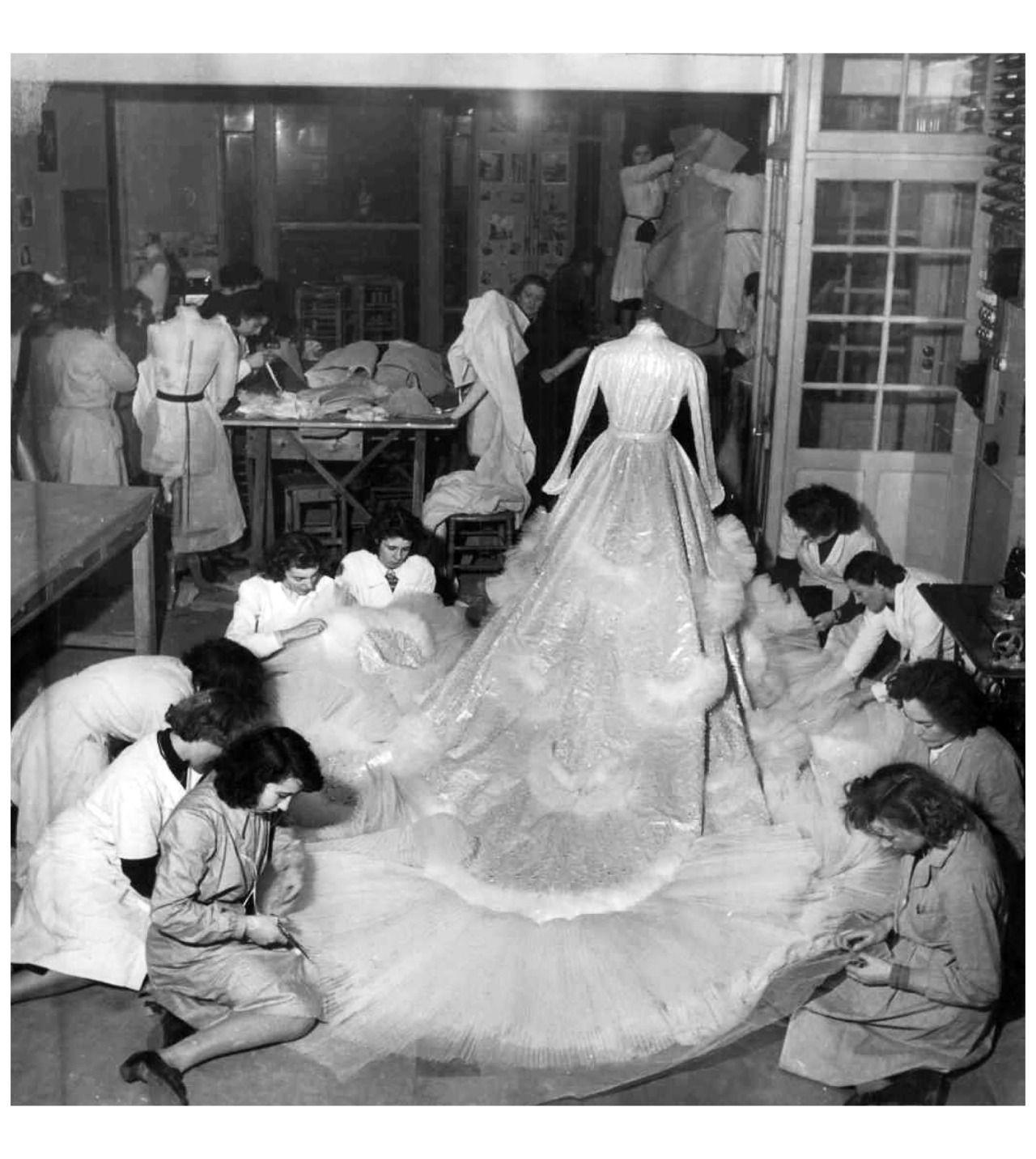 Dior wedding dresses  Catherinettesud of the Maison Christian Dior finishing the Wedding
