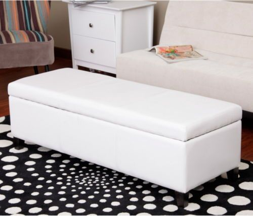 Contemporary Storage Bench Oakwood Base Living Room Furniture White Faux Leather White Storage Bench Storage Bench Leather Storage Bench