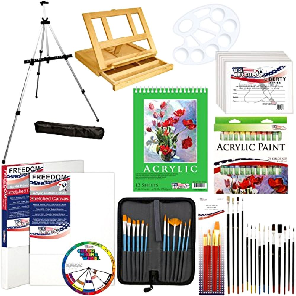 US Art Supply 72Piece Deluxe Acrylic Painting Set with