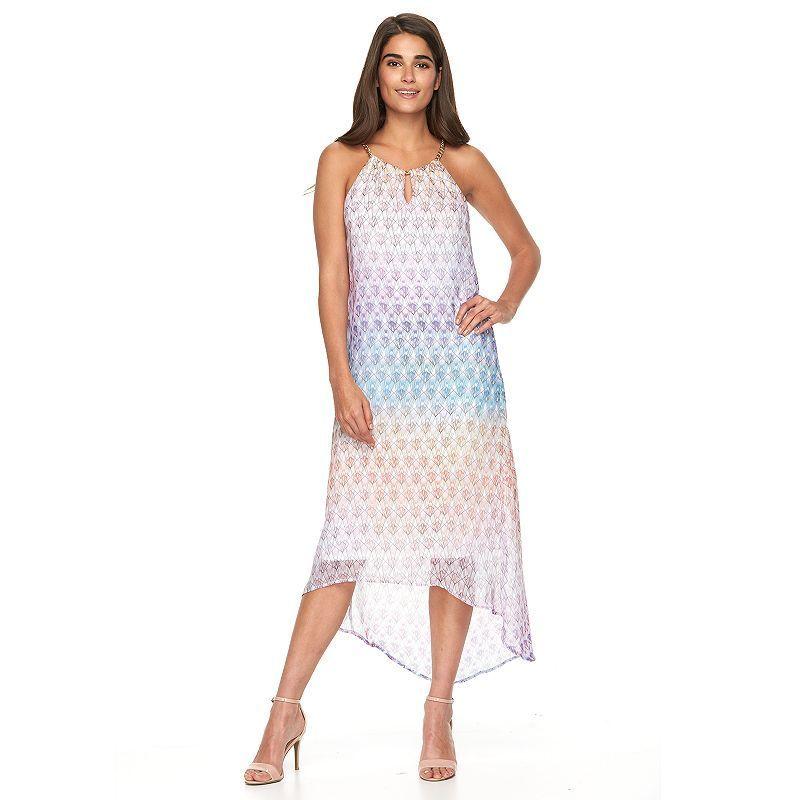 Women's Haggar Geometric Chiffon High-Low Maxi Dress, Size: Small, Light  Blue