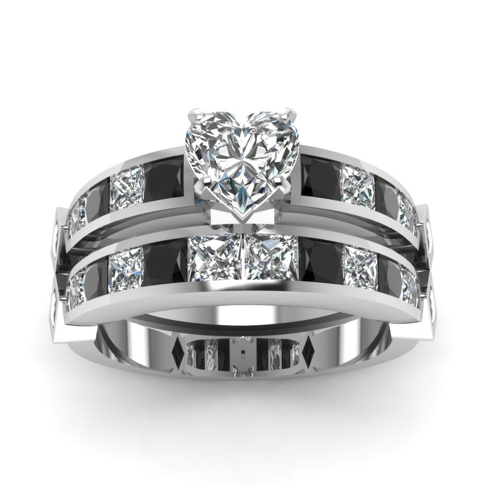 Heart shaped channel set princess accent diamond wedding ring sets