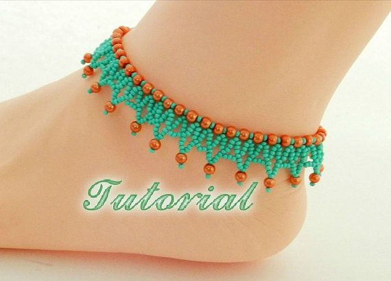 Beaded Anklet Tutorial Seed bead Anklet PDF pattern Beadwork beading step by step tutorials how to make Beaded Anklet seed bead tutorial #craftstomakeandsell