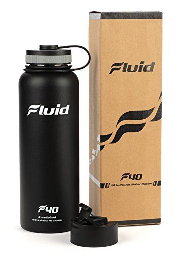 Insulated Stainless Steel Water Bottle By Fluid Sports Obsidian  40 Oz Wide Mouth BPA Free Bonus Fliptop Lid Included * You can get additional details at the image link. (Note:Amazon affiliate link) #CampingHikingEquipment