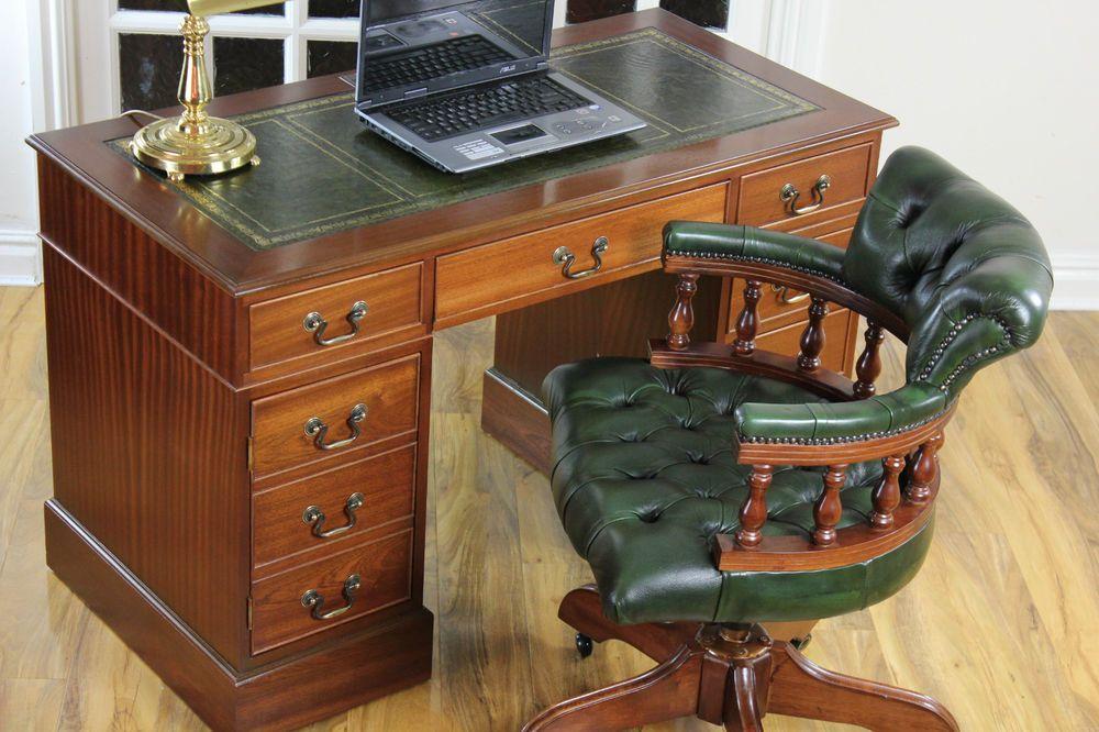 Antique Style Mahogany Pedestal Leather Top Writing Desk Captains Chair Leather Top Writing Desk Desk Vintage Desk