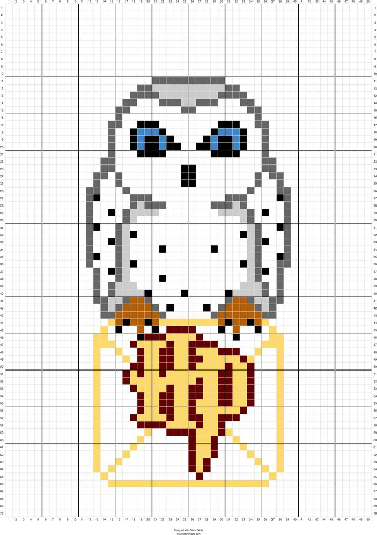 Photo of Hedwig HP Letter… can use this to design a other color-by-numbers Google Sheet…