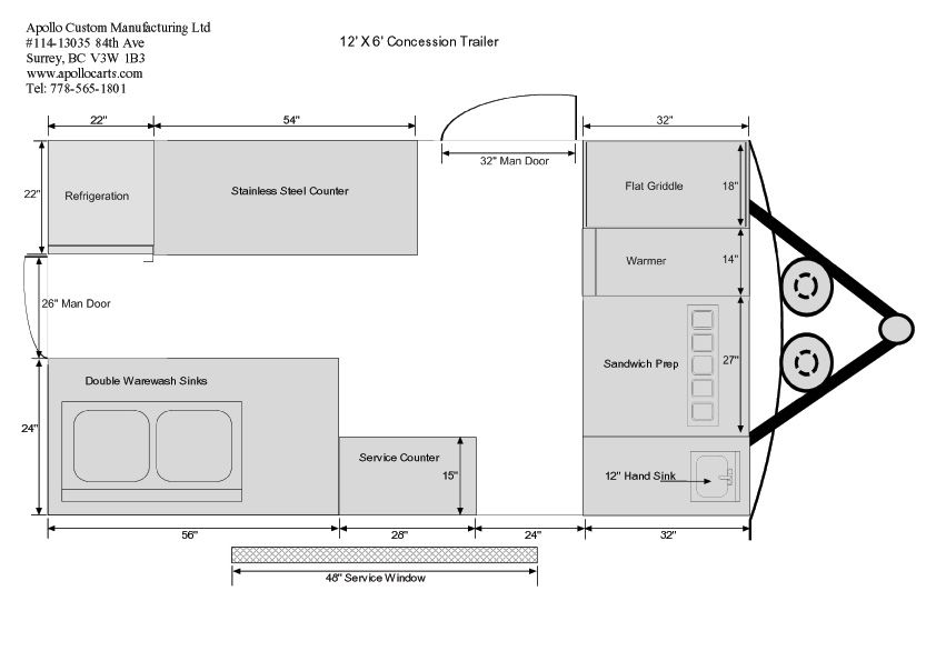 12ft-Concession-Trailer-Floor-Plan-Bjpg 842×595 pixels Food - food truck business plan