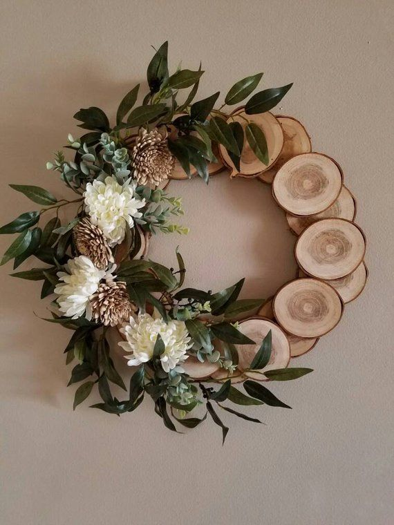 Photo of Rural wreath, spring wreath, cottage wreath, wall decoration, wooden wreath, wreath, rustic wreath, primitive wreath, nature wreath, natural wreath