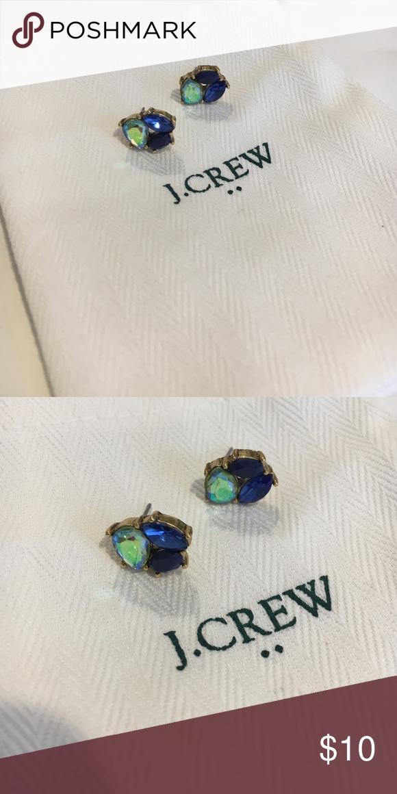 J. Crew Crystal Trio Earrings J. Crew crystal trio post earrings in blue. Worn once. J. Crew Jewelry Earrings