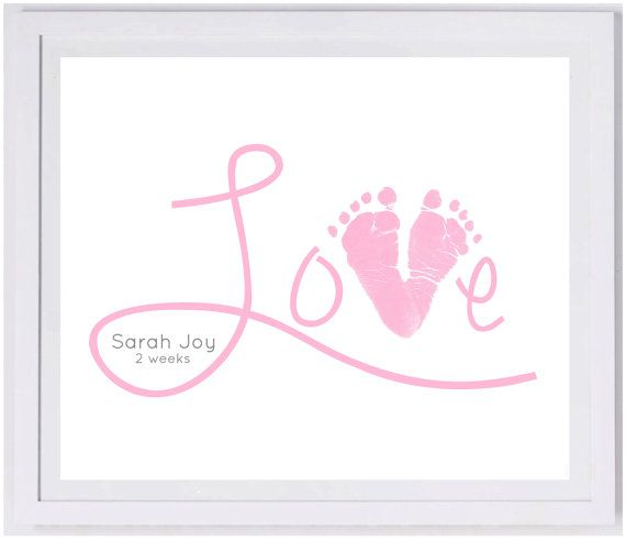 Love Scripty Footprint Wall Art 1500_hand and footprint art, baby footprint keepsake, baby loss, print kit, mom dad grandma grandpa gift