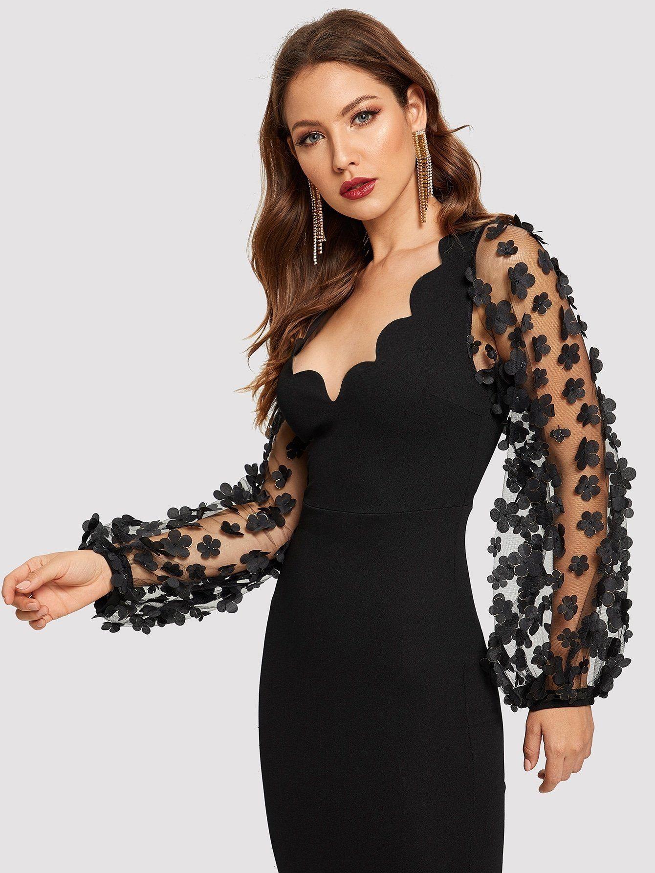 3d Applique Mesh Sleeve Scallop Edge Dress Black Dresses Classy Dress Clothes For Women Dresses [ 1785 x 1340 Pixel ]