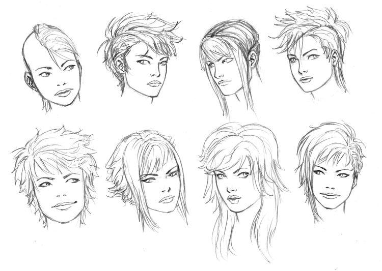 Punky Girl Hair 4 10 By Timflanagan On Deviantart Hair Illustration How To Draw Hair Hair Sketch