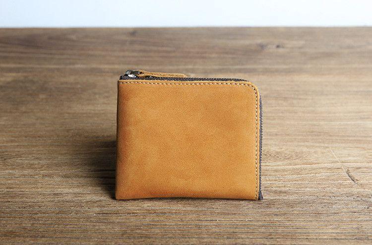 Luxury Brand Vintage 100% Genuine Crazy Horse Leather Mens Short Slim Mini…