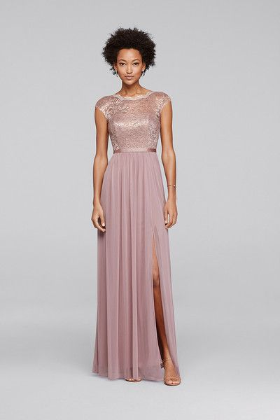 0007bf417339 David s Bridal Style F19328M Looking for a little lace for your  bridesmaids  This long metallic bridesmaid dress features a lace bodice