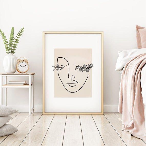 Photo of Eyelash Print, Abstract Woman Face Line Art Print, Line Drawing, Boho Wall Print, Minimalist Printable Art, Lashes Print, Line Illustration