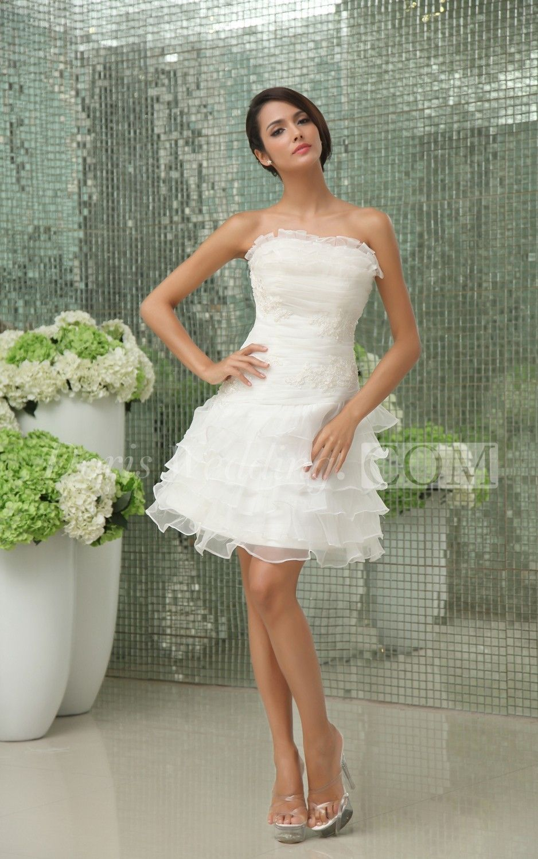 Vibrant Strapless Short Dress With Apliques And Ruffles Strapless Dresses Short Short Wedding Gowns Wedding Dresses Strapless [ 1500 x 938 Pixel ]