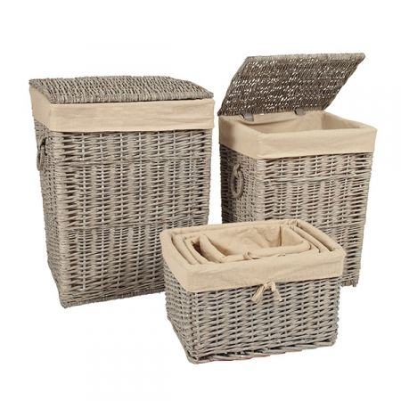 Set Of 6 Grey Wicker Laundry Hamper Baskets Looking For A