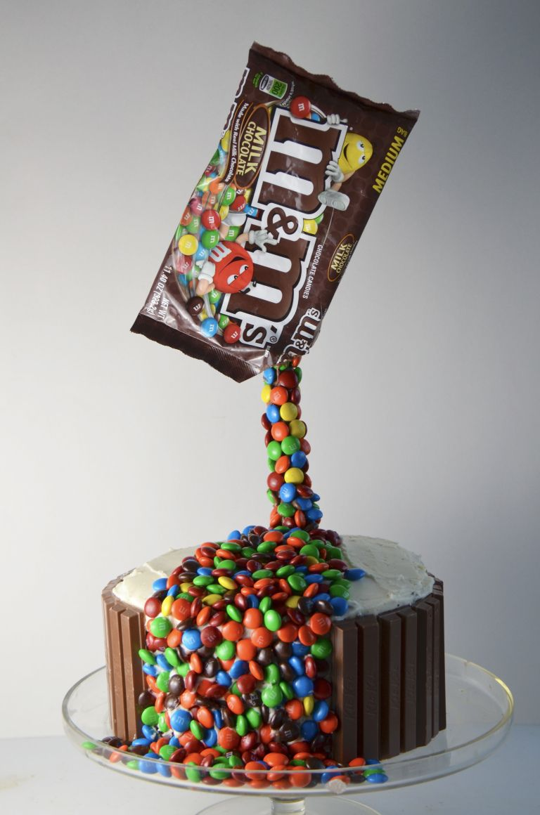 Photo of Anti-Gravity M&M Cake