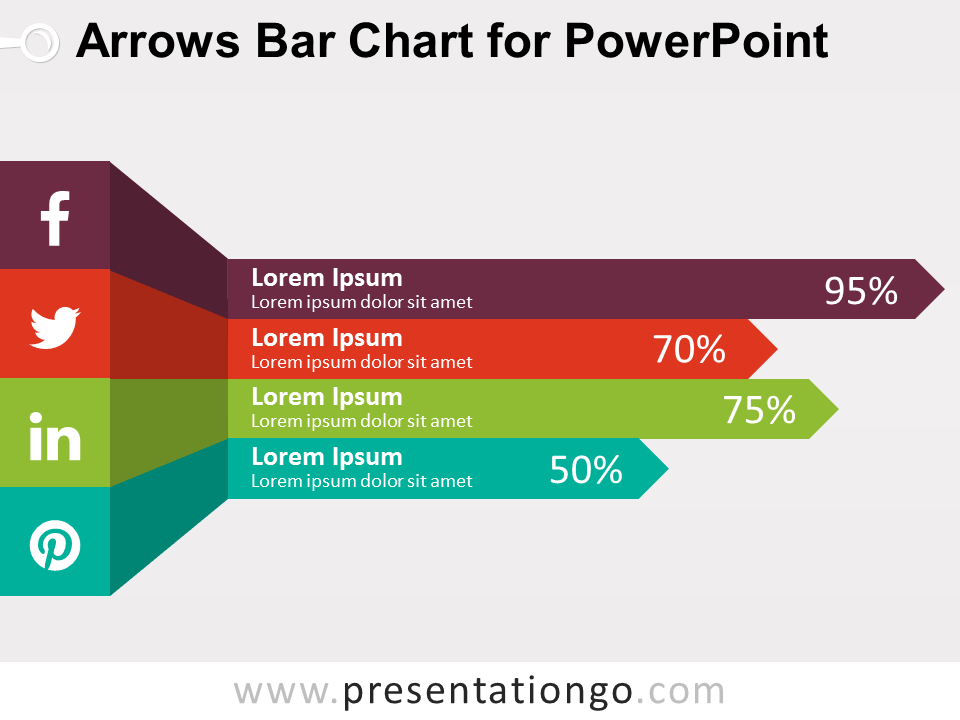 Arrows Bar Chart For Powerpoint  PresentationgoCom  Chart And