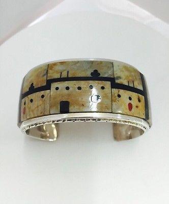 Native American Sterling Silver Zuni Multi-Stone Pueblo Design Inlay Bracelet