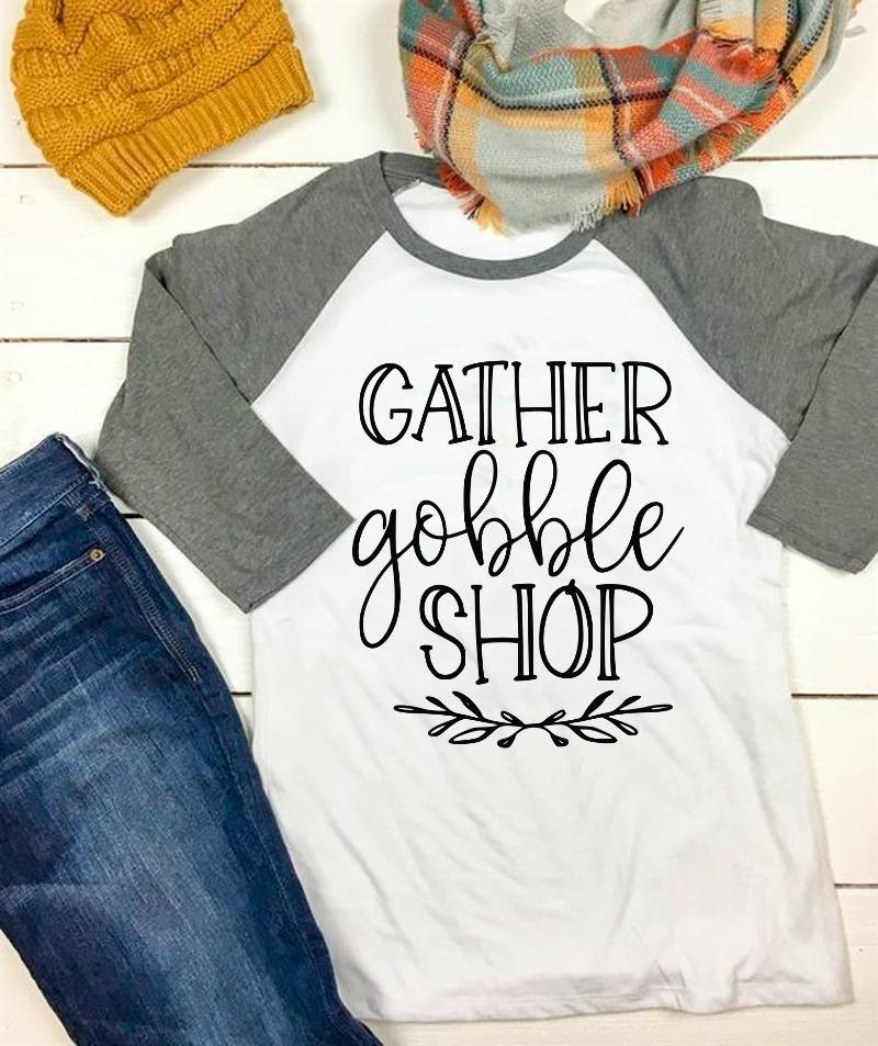 Gather Gobble Shop Black Friday Thanksgiving SVG DXF EPS PNG Cut File • Cricut • Silhouette