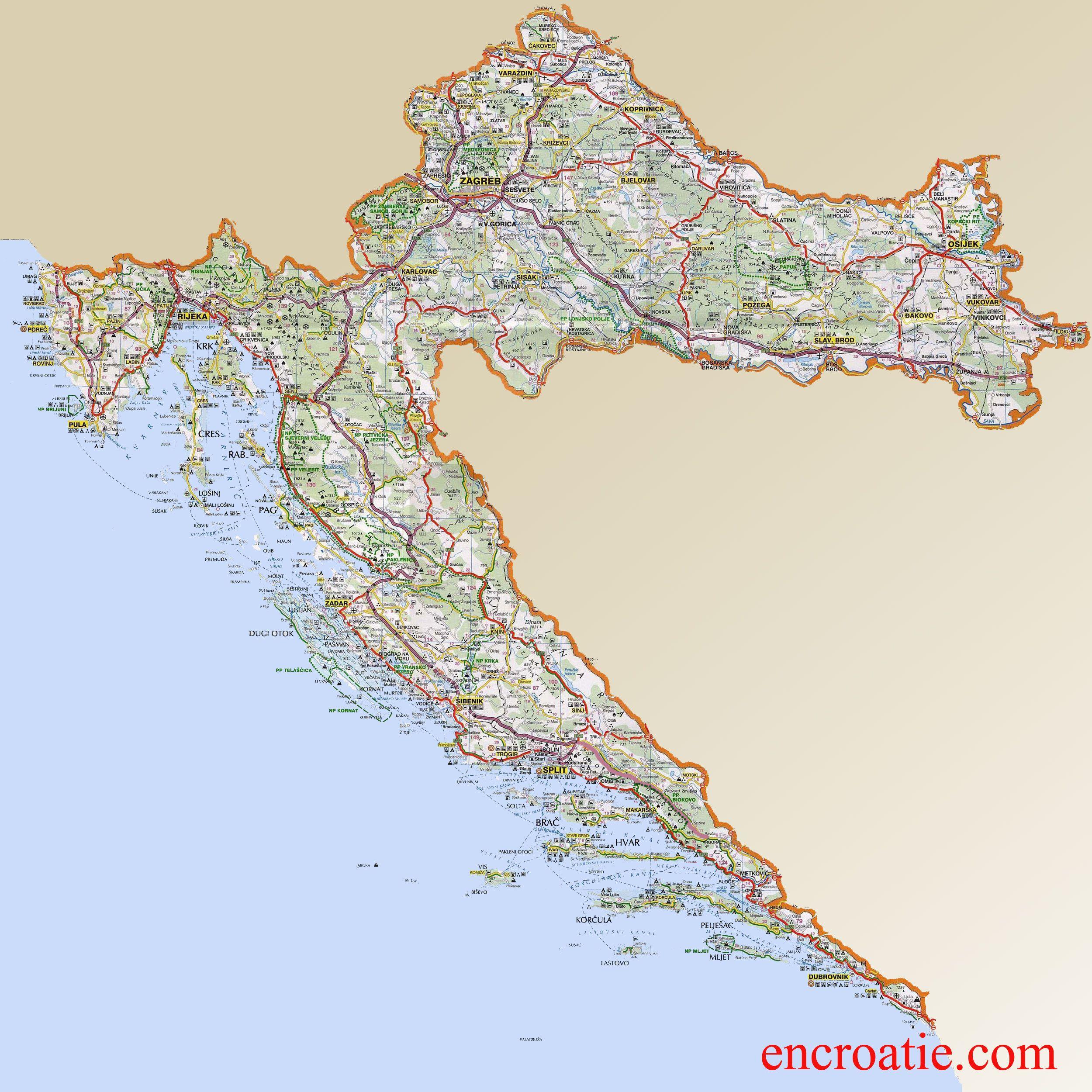 Carte De La Croatie Cartes Detaillees Des Regions Carte Autoroutes Carte Touristique Carte Croatie Carte Touristique Croatie