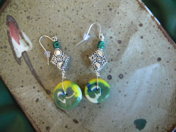 one of a kind polymer clay bead earrings with silver beads #design #fashion