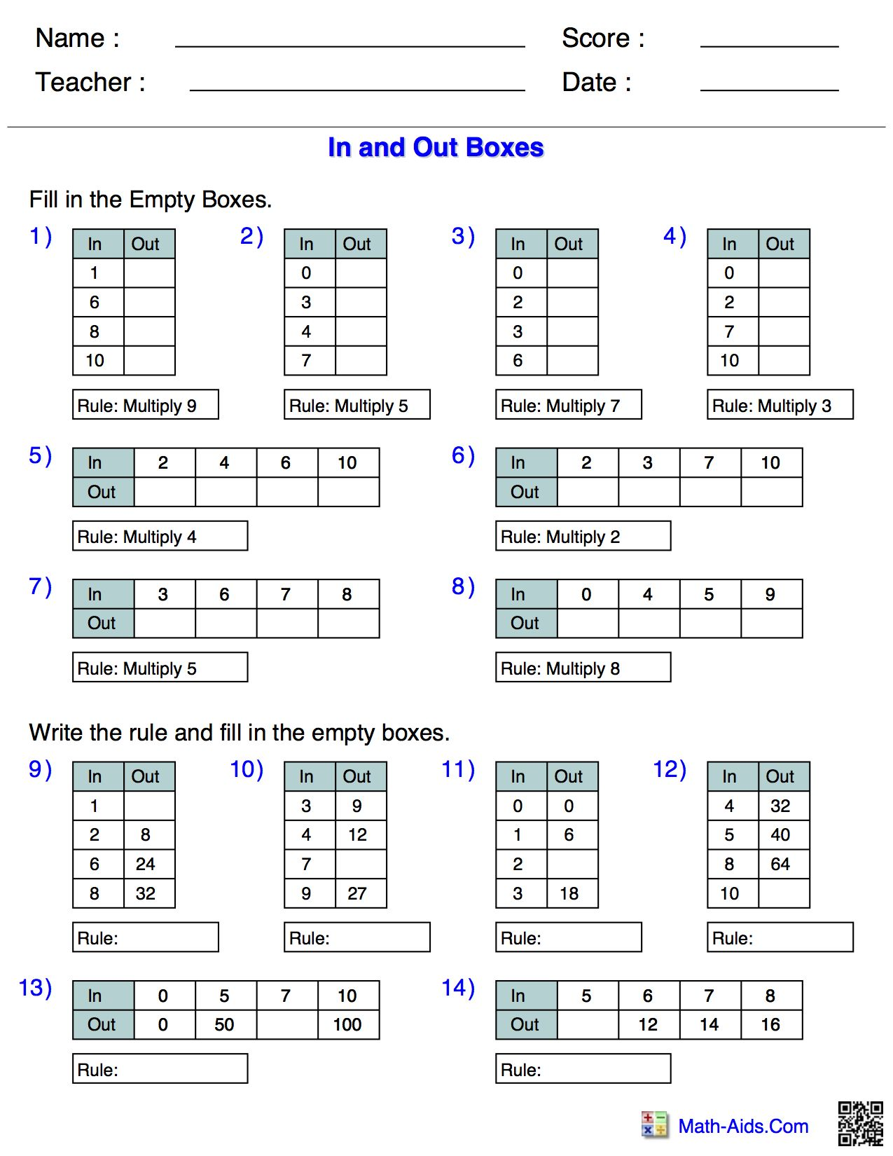 In and out tables for multiplication - FREE http://www.math-aids.com ...