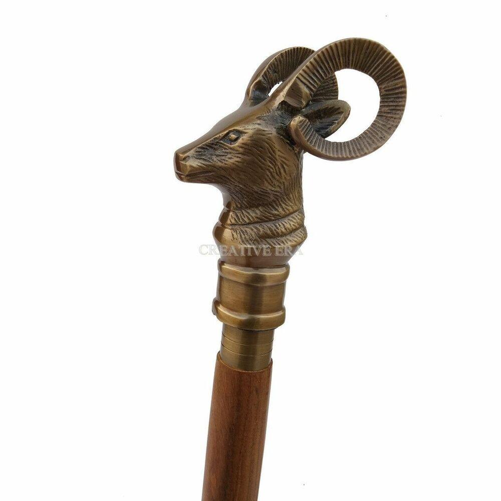 Solid Vintage Designer Octopus head Wooden Walking Stick Cane Antique Gift