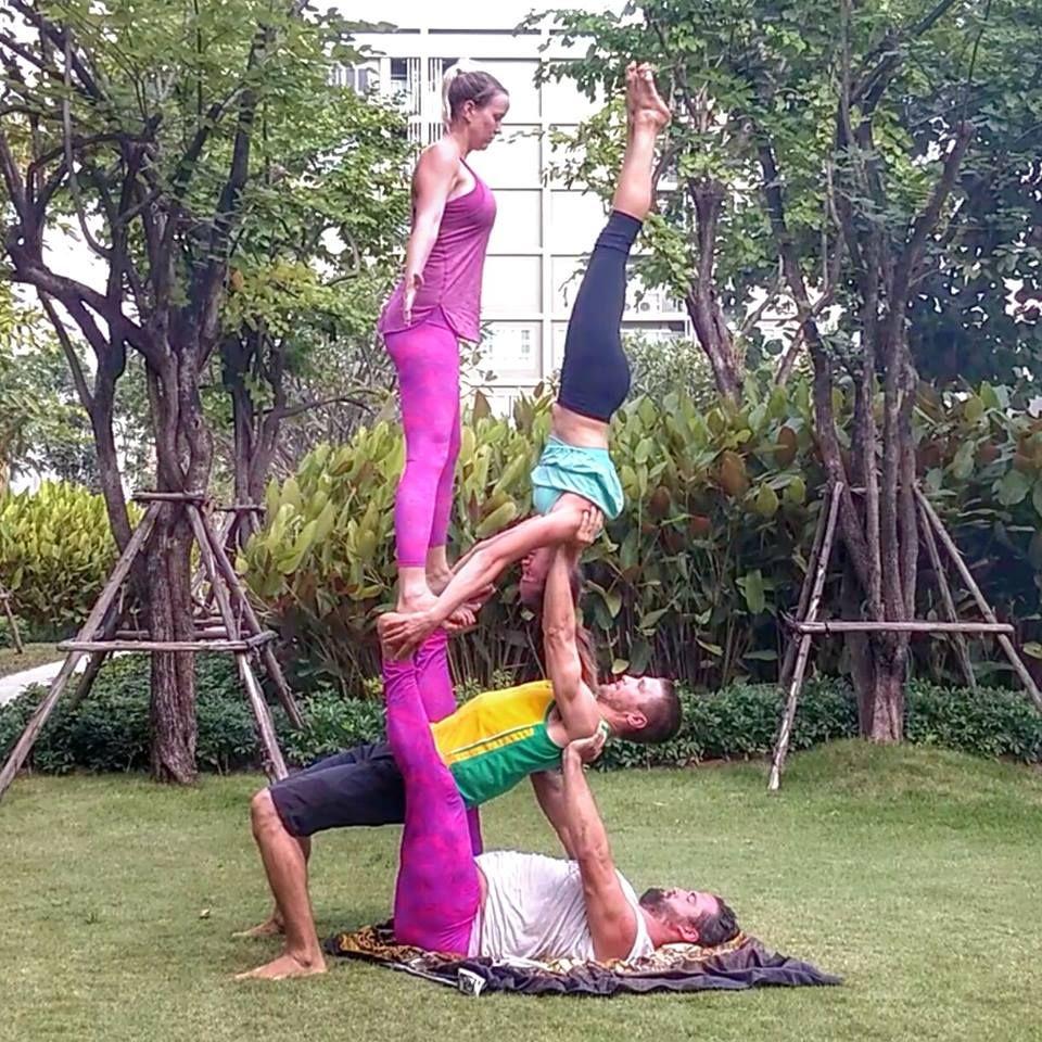 Bob and Trish, acro-yoga, four person acro pose, pillar of pink