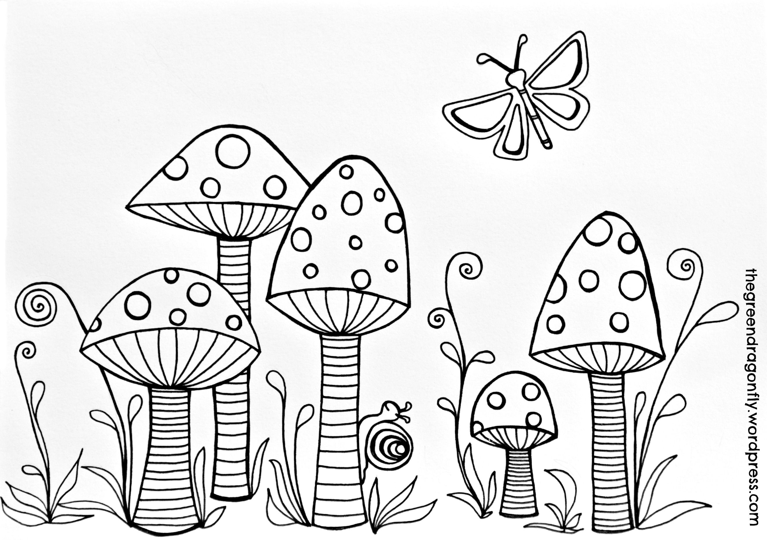 Toadstools coloring page | Doodles, Adult coloring and Coloring books