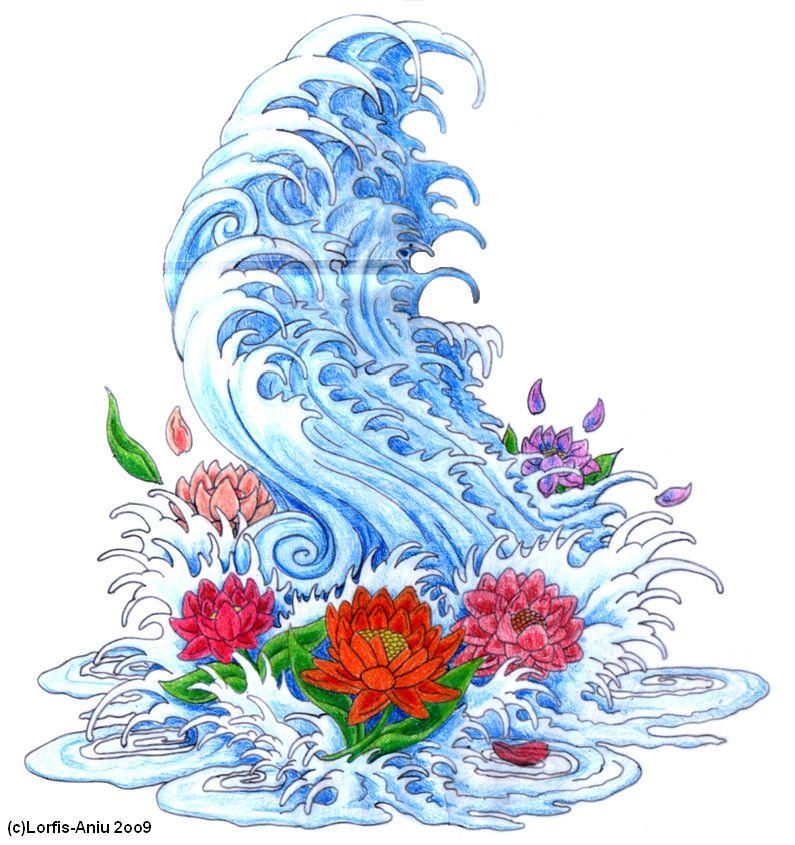Japanese_Wave_n_Lotto_Flowers_by_Lorfis_Aniu.jpg (795×845)