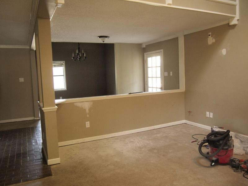 Living and dining room the demo and refinishing of the for Dining room half wall ideas