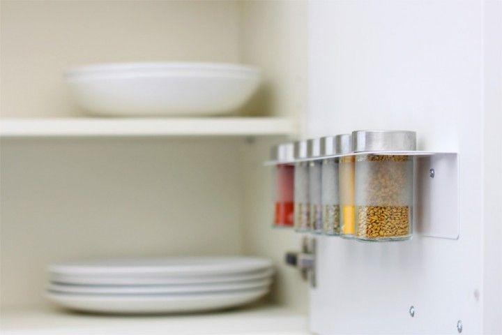 Gewürzglashalter mit Droppar Gläsern, montiert in einem - k chen unterschrank ikea