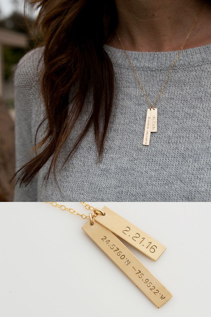 Personalized Bar Necklace /Coordinates Necklace/Gold Bar Necklace/ Latitude and…