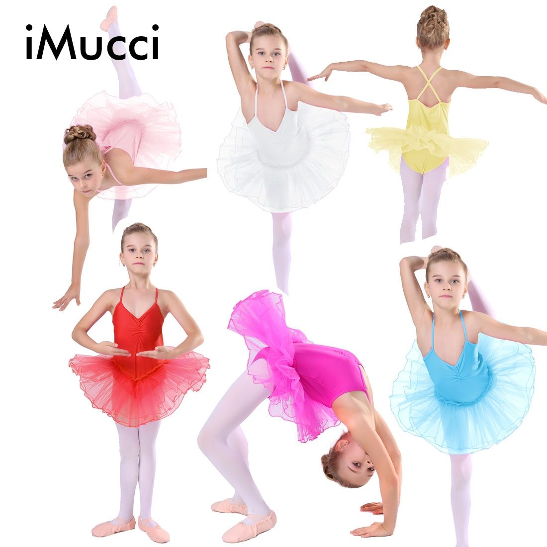 77cab63b2e Click to Buy << iMucci 7 Colors Rose Girl Ballet Dress Child Gauze ...