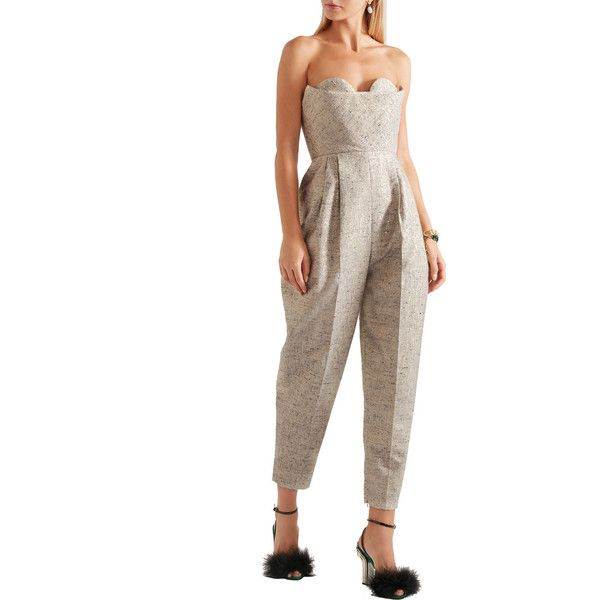 DELPOZO Strapless metallic tweed jumpsuit ($1,265) ❤ liked on Polyvore featuring jumpsuits, white jumpsuit, delpozo, white jump suit, white strapless jumpsuit and jump suit