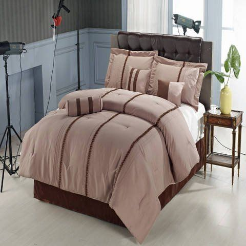 7pc King Size Krystal Beige Comforter Set By Sheetsnthings By Sheetsnthings 89 99 King 7 Piece Set Includes Brown Bed Sets Comforter Sets Luxury Bedding Set