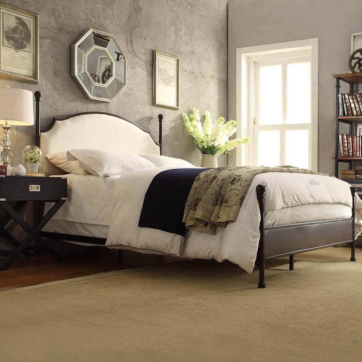 Andover Cream Curved Top Cherry Brown Metal Poster Bed by iNSPIRE Q Classic  by iNSPIRE Q. Master BedroomsGuest ...