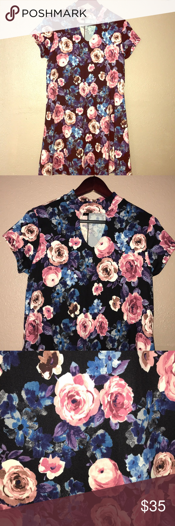 90s inspired couch floral choker babydoll dress M In great condition! Only worn once! Fits a size 6-8 and has a busy of 34-36. Joe Boxer Dresses Mini