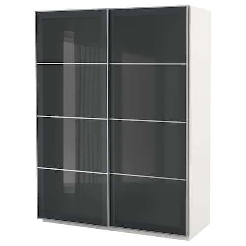 Pax Wardrobe Black Brown Farvik White Glass 59x26x93 1 8