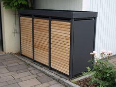 Die Mülltonnenbox Alu mit Lärchetüren wird ohne Lochung, mit Vierkantlochung oder Rundlochung und Lärchentüren geliefert. #zaunideen