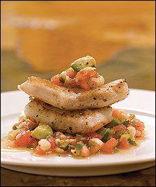 Flounder With Tomato, Corn and Avocado Salsa
