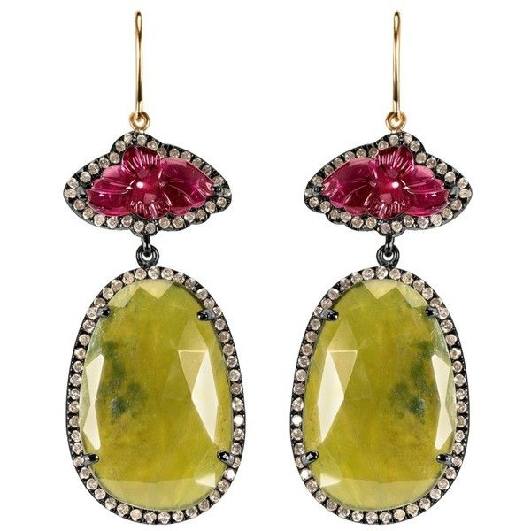 Women's Silver Earrings by Arya Esha Daliah Vasonite Earrings with... ($1,695) ❤ liked on Polyvore featuring jewelry, earrings, green, pink tourmaline earrings, green earrings, green silver earrings, hook earrings et 18k earrings