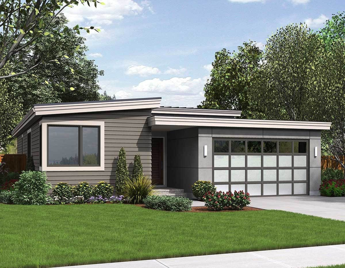 Plan 69547am One Story Contemporary For A Small Lot Contemporary House Plans Narrow Lot House Plans Modern Style House Plans