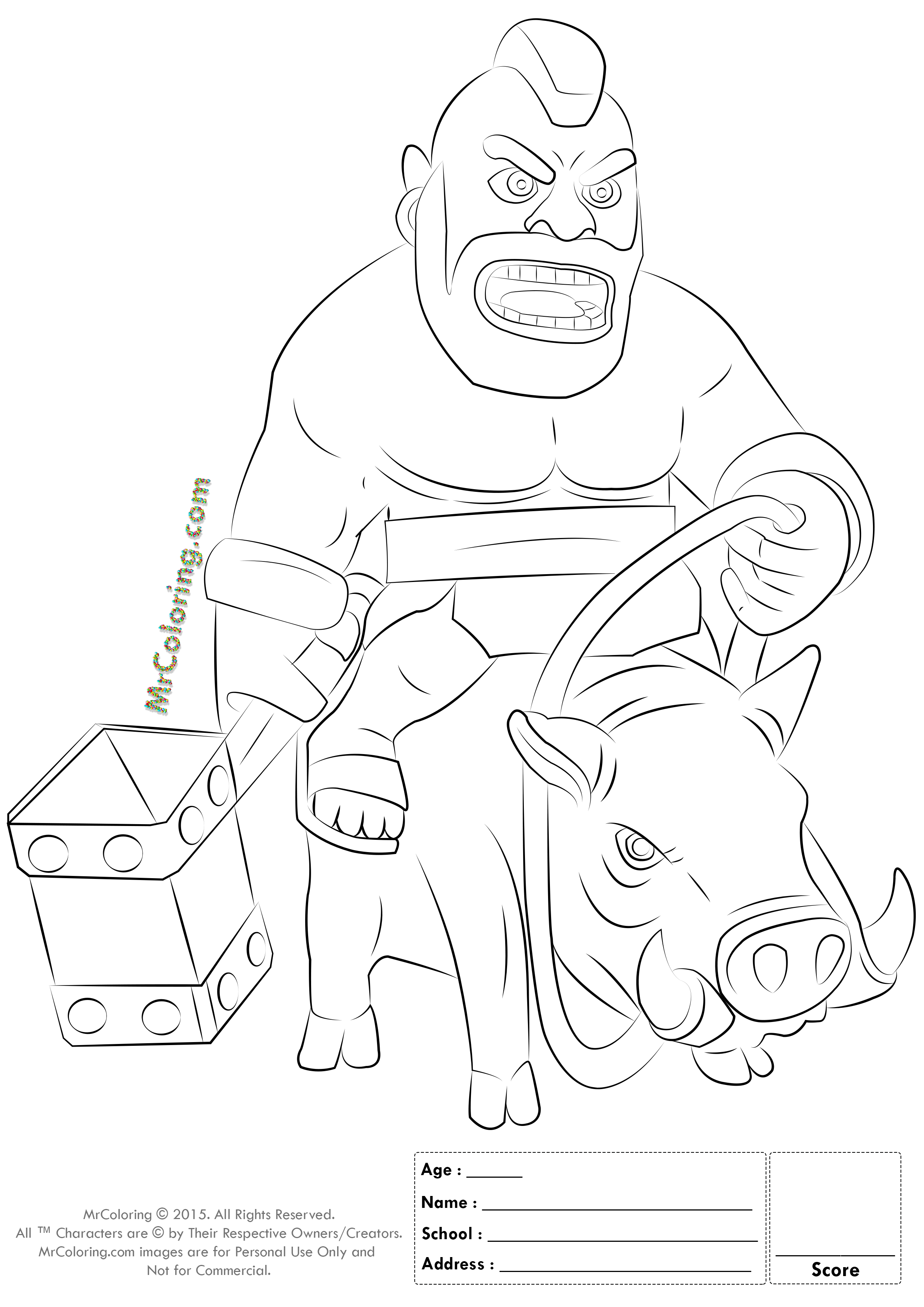 Clash Of Clans Hog Rider Coloring Clash Of Clans Pinterest