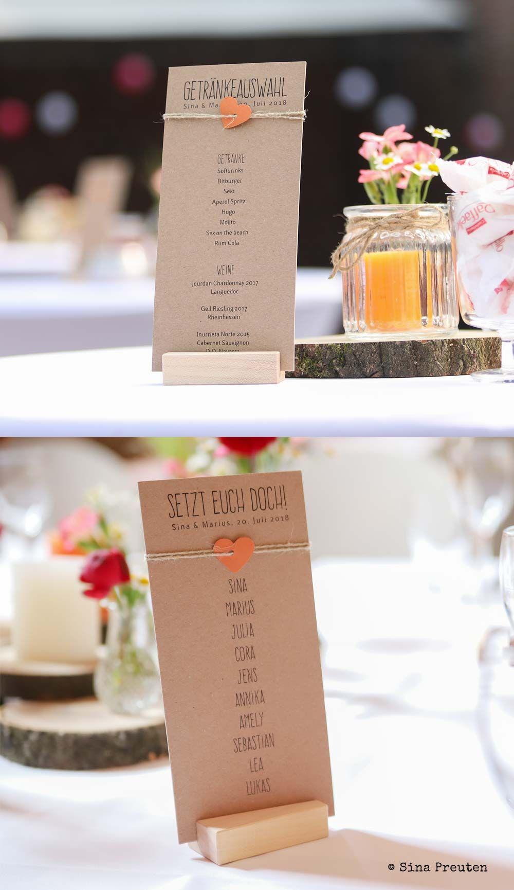 Getrankekarte Und Sitzplan Typ Paulina Karte Hochzeit