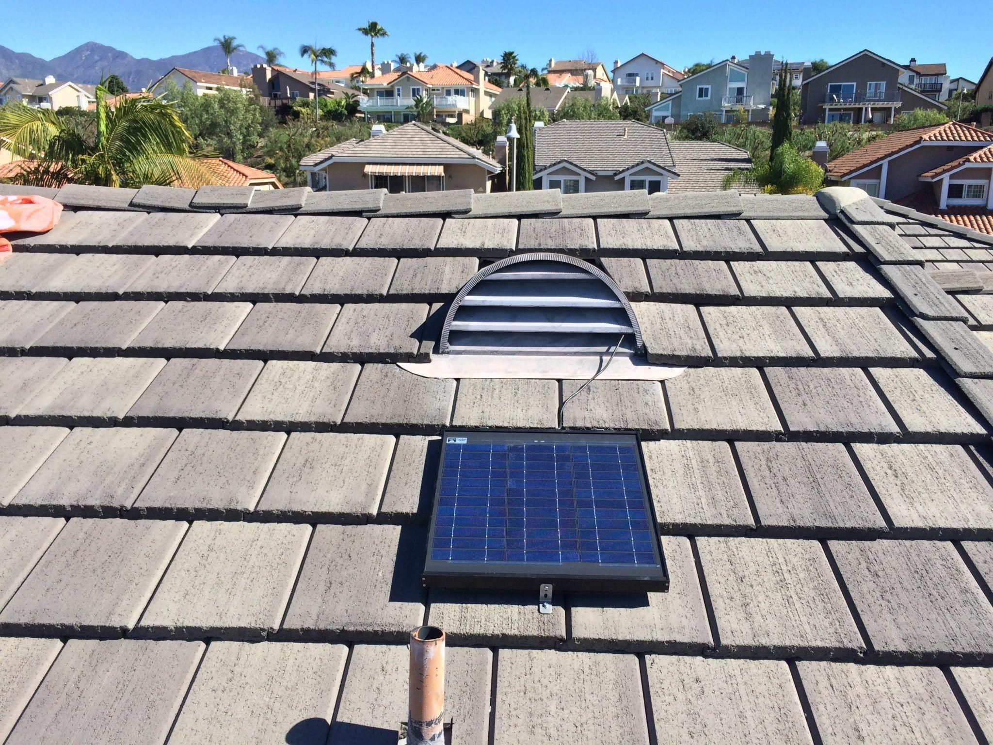 Gable Solar Attic Fan Model Installed From Sunrise Solar Off Grid Solar Panels Off Grid Solar Solar Power House