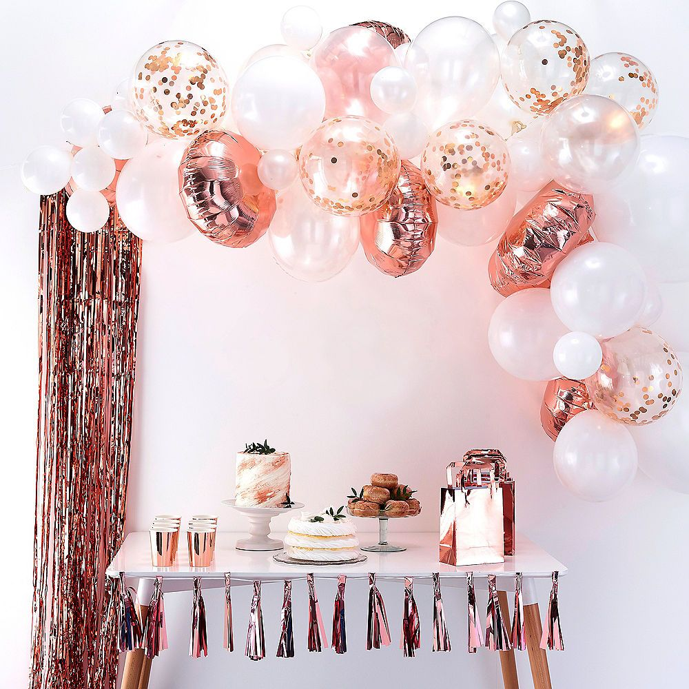 AirFilled Ginger Ray Rose Gold Balloon Arch Kit 71pc