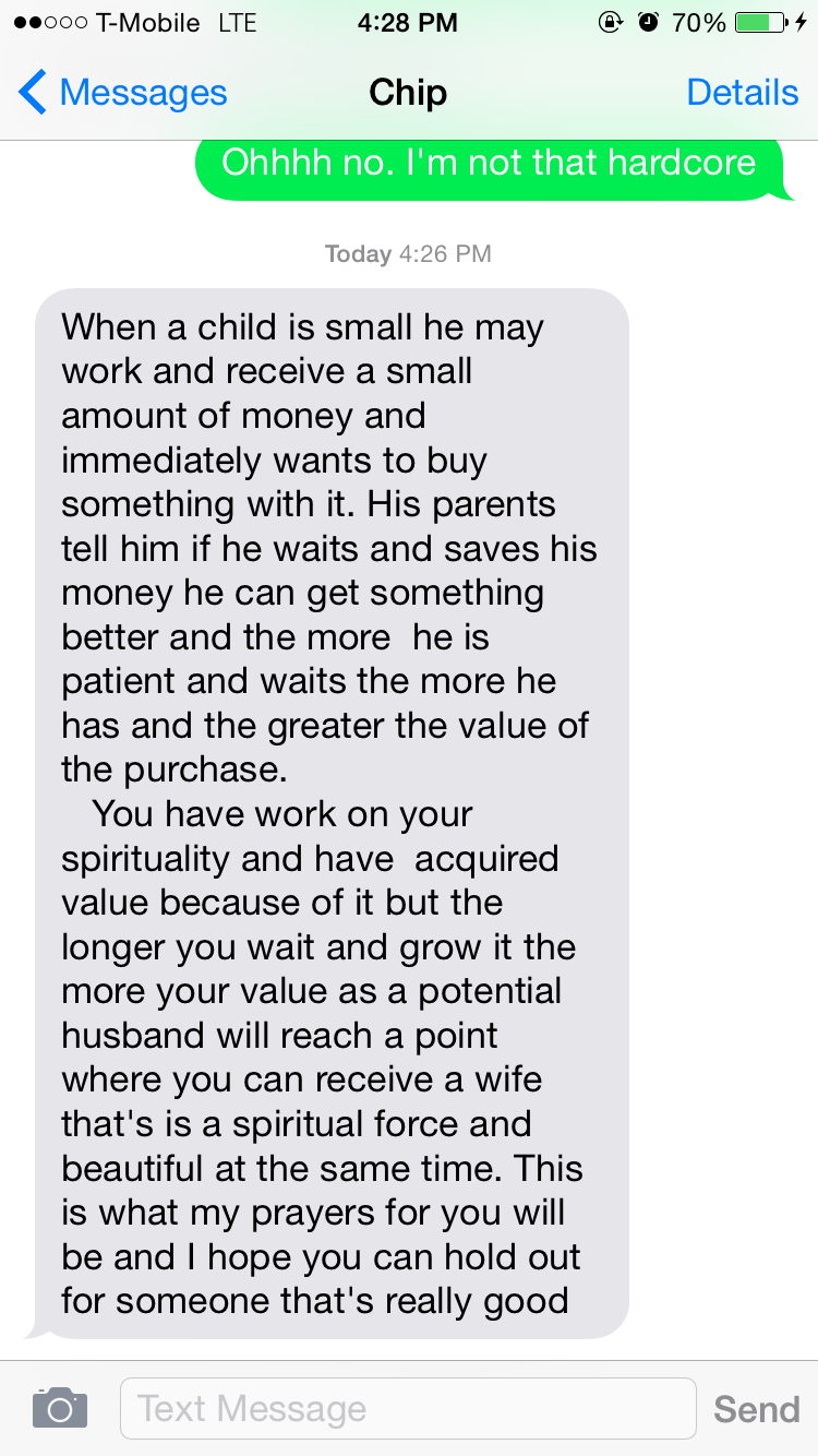 Motivation+patience=blessings (text from my brother)